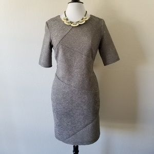 B. Works Grey Silver Midi Dress 10 (NWOT)